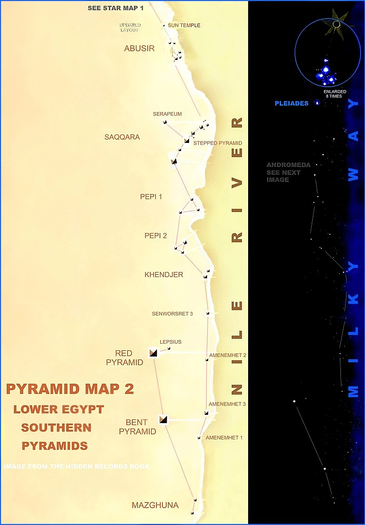 Wayne Herschel Author The Hidden Records Discovered - Map of egypt showing pyramids