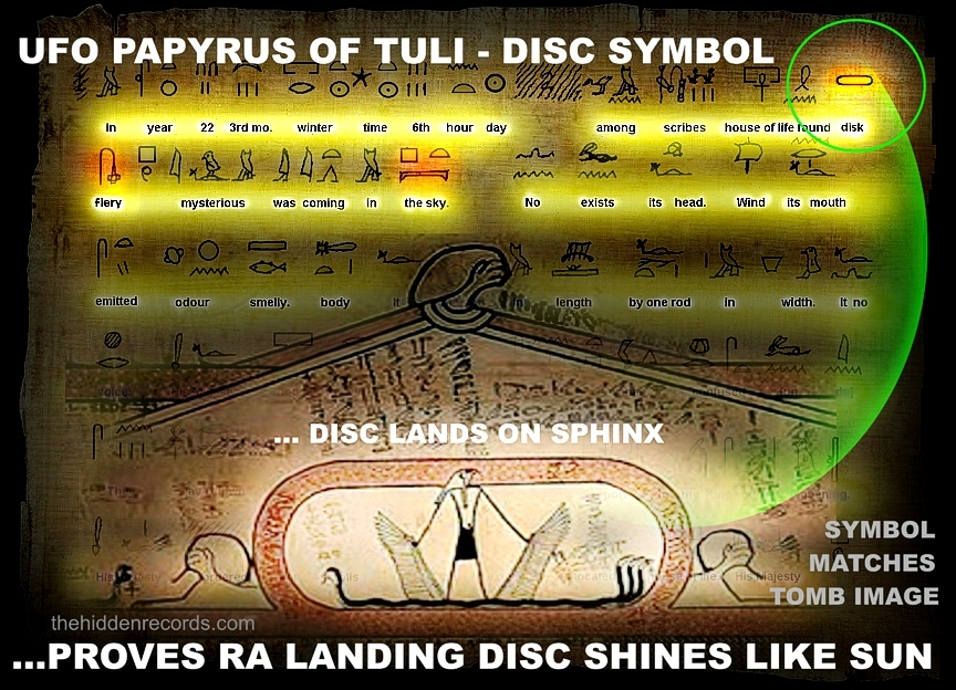 "Risultati immagini per Does this Ancient Egyptian manuscript show a UFO landing on the ""Sphinx""?"